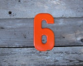 Vintage Metal Chippy Number 6 Six or 9 Nine Sign Painted Sign Antique Marquee Rusted Metal Orange