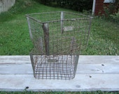 Antique Wire Industrial Machine Age Wire Baskets Vintage Gym Baskets Washburn
