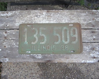 License Plate Antique Original Matched Set of 2 1939 Green Illinois License Plates