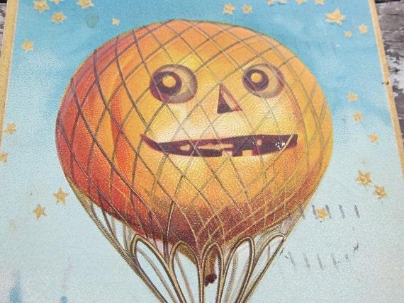 Vintage Halloween Pumpkin Balloon Postcard 1900s Old