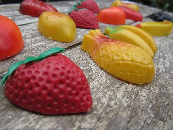 Vintage Magnets Fruit Magnets 60s 70s Fridge