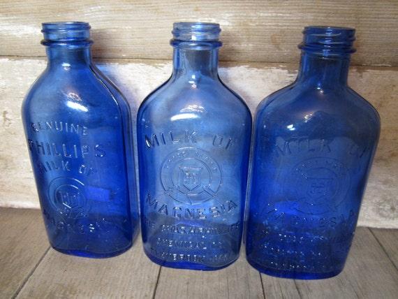 Antique Cobalt Blue Bottle Milk Of Magnesia Vintage Blue Bottle