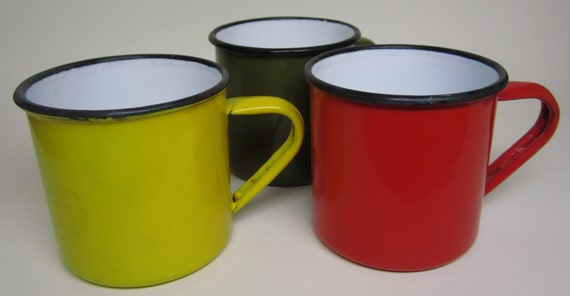 3 Vintage Porcelain Enamel Cups Red Yellow Green Old