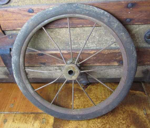 Small RUSTY Metal Rubber Wheel From Wagon Carriage or Buggy