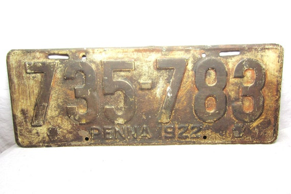 Antique Original 1922 Pa Pennsylvania  Metal License Plate Distressed Chippy