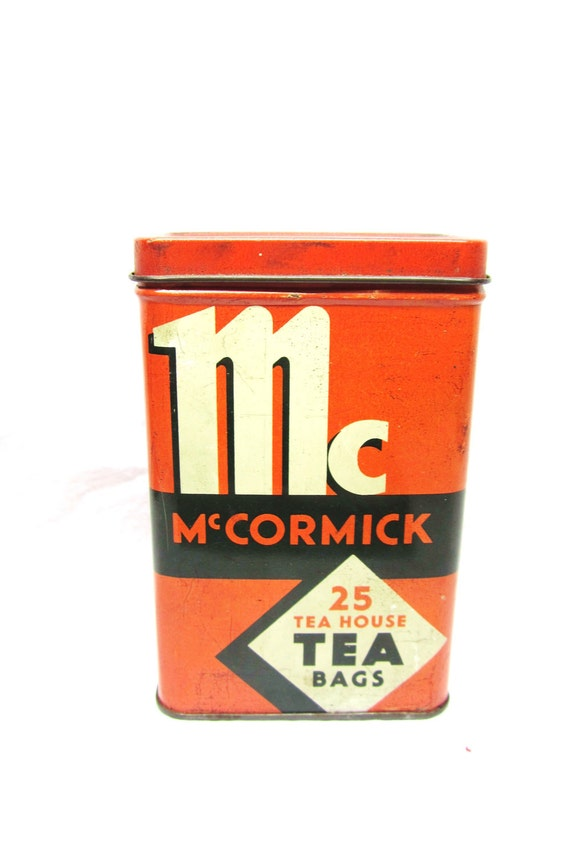Antique McCormick Tea Bag Tin Metal Advertising Storage Container