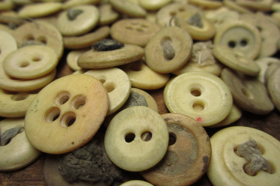 Authentic 1800s Bone Underwear Buttons for Reenactor Period Clothes Dolls 2 hole 4 hole