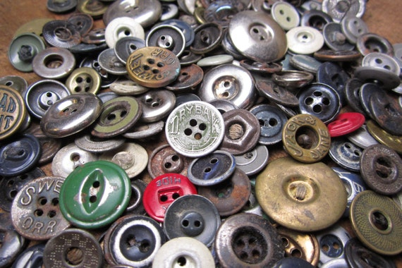 Instant Collection of Vintage Industrial Factory Work Uniform Clothes Metal Steampunk Buttons