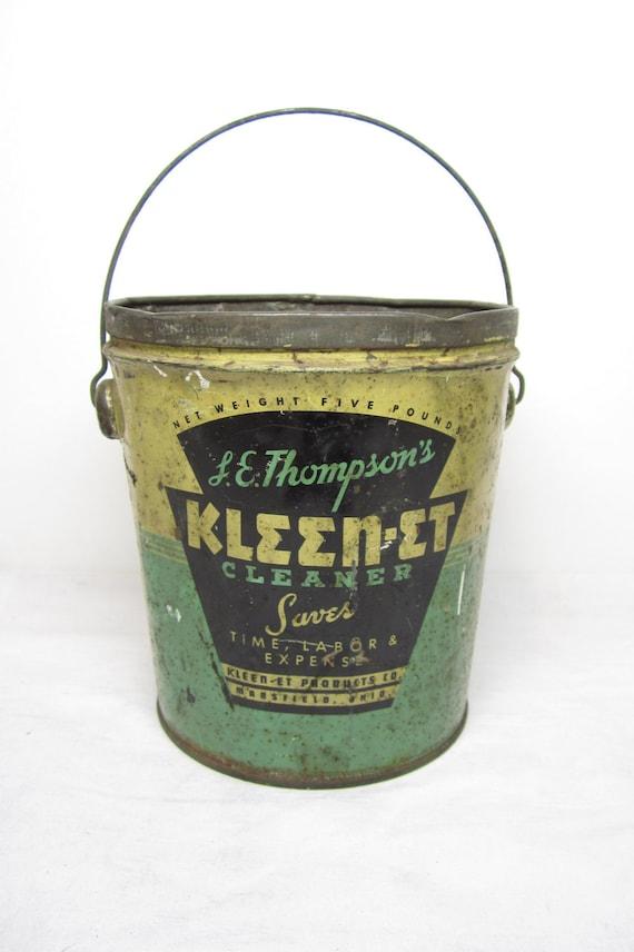 Antique tin metal advertising bucket kleen et green and cream for Old metal buckets