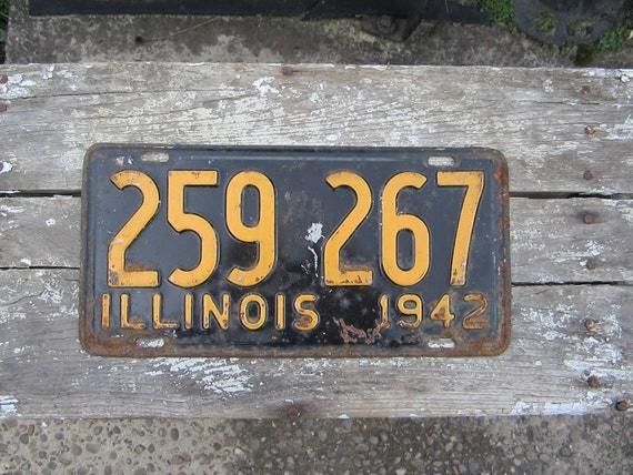 License Plate Antique Original 1942 ILLINOIS Metal