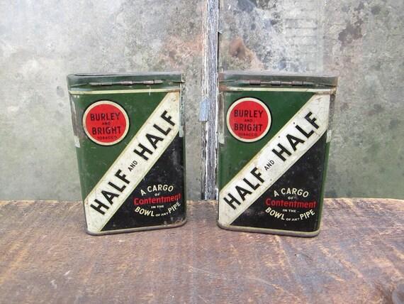 2 Vintage Half and Half Tobacco Tins Advertising Rustic Metal Can