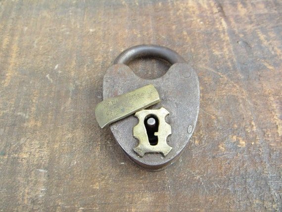 Large Antique Metal Lock Heart Shaped 1800s Brass Key Hole Cover
