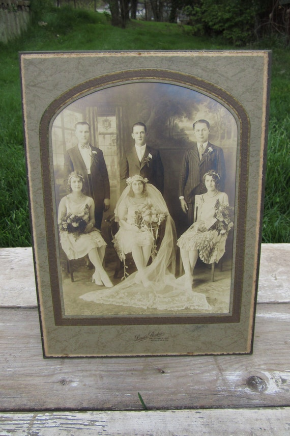 Antique Wedding  Photograph Early 1900s Young Couple and Wedding Party Beautiful Antique Picture