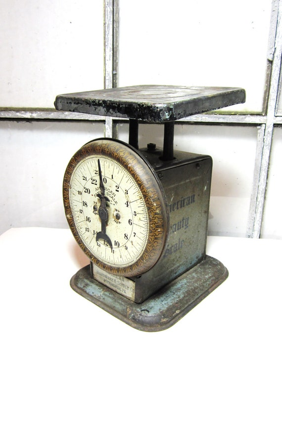 Antique Scale Chippy Blue and Gold 1930s American Hardware and Supply Pittsburgh Pa Kitchen Decor