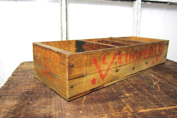 Antique Wood Box Wooden Cheese Box Cooper  Primitive Rustic Decor Shelf Organizer Red Old