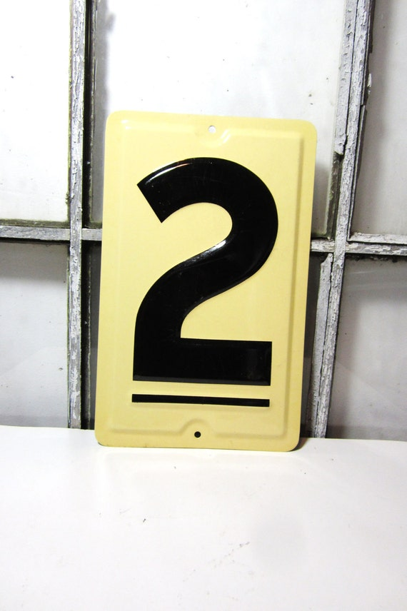 Large Antique Metal Number 2 Two  Tin Price Sign Old Gas Station Number Cream Black