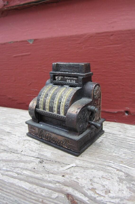 Vintage Antique Cash Register Miniature Metal Pencil Sharpener Miniature Figural