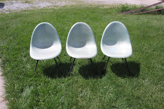 Set of 3 Vintage Fiberglass Shell Chairs Miller Eames Era Mid Century Mod 50s Furniture