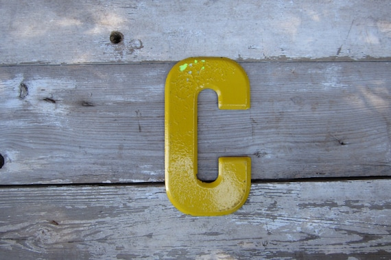 Vintage Metal Chippy Letter C Sign Painted Sign Antique Marquee Rusted Metal Yellow