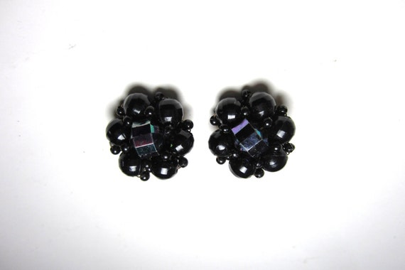 Vintage Clip On Earrings Black Plastic Pin Up Retro Style