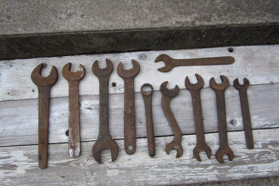 Instant Collection 10 Antique Wrenches Indsutrial Iron Tools Old HUGE WRENCHES Mechanic Factory Man Cave Art Wall Decor Early 1900s Vintage