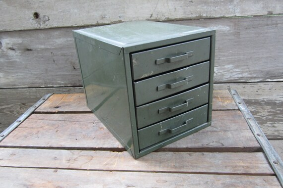 Vintage Industrial Metal Filing Box Small Metal Storage Cabinet Organizer Green Divided Trays