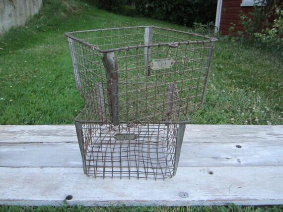 Antique Wire Industrial Machine Age Wire Baskets Vintage Gym Baskets Washburn