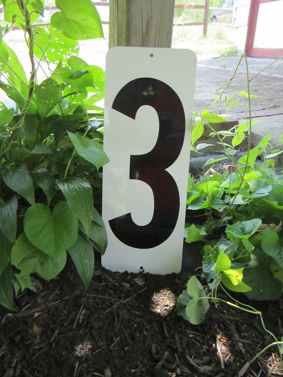 Vintage  Metal Number 3 or 2 Double Sided  White and Black Gas Station Price Sign Large Old
