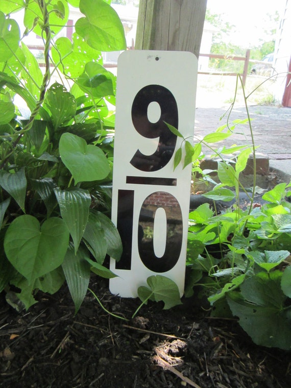 Vintage  Metal Number 9 10  Nine Tenths White and Black Gas Station Price Sign Large Old