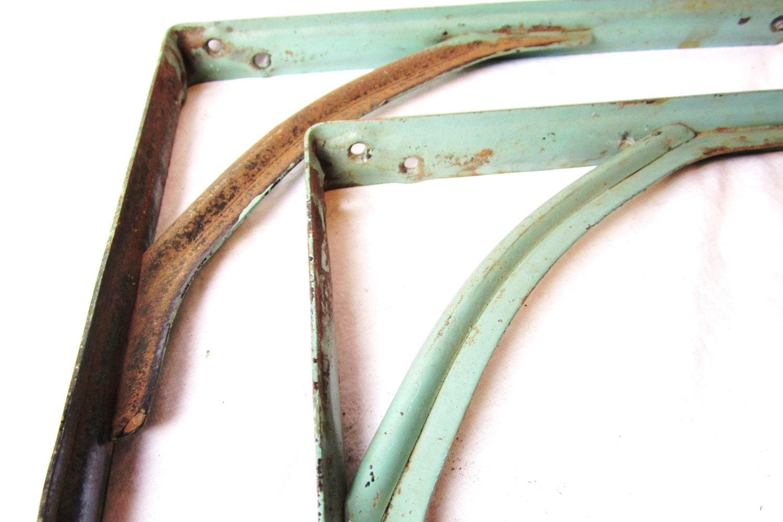 Metal Shelf Brackets Antique Set Of 2 Old Rusted Chippy Blue
