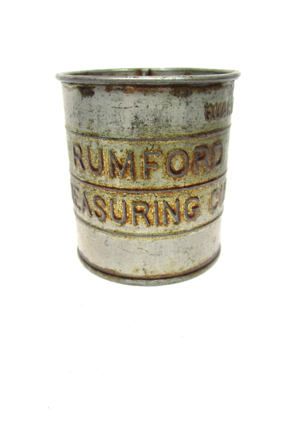 Antique Tin Measuring Cup Rumfords Vintage Country Kitchen
