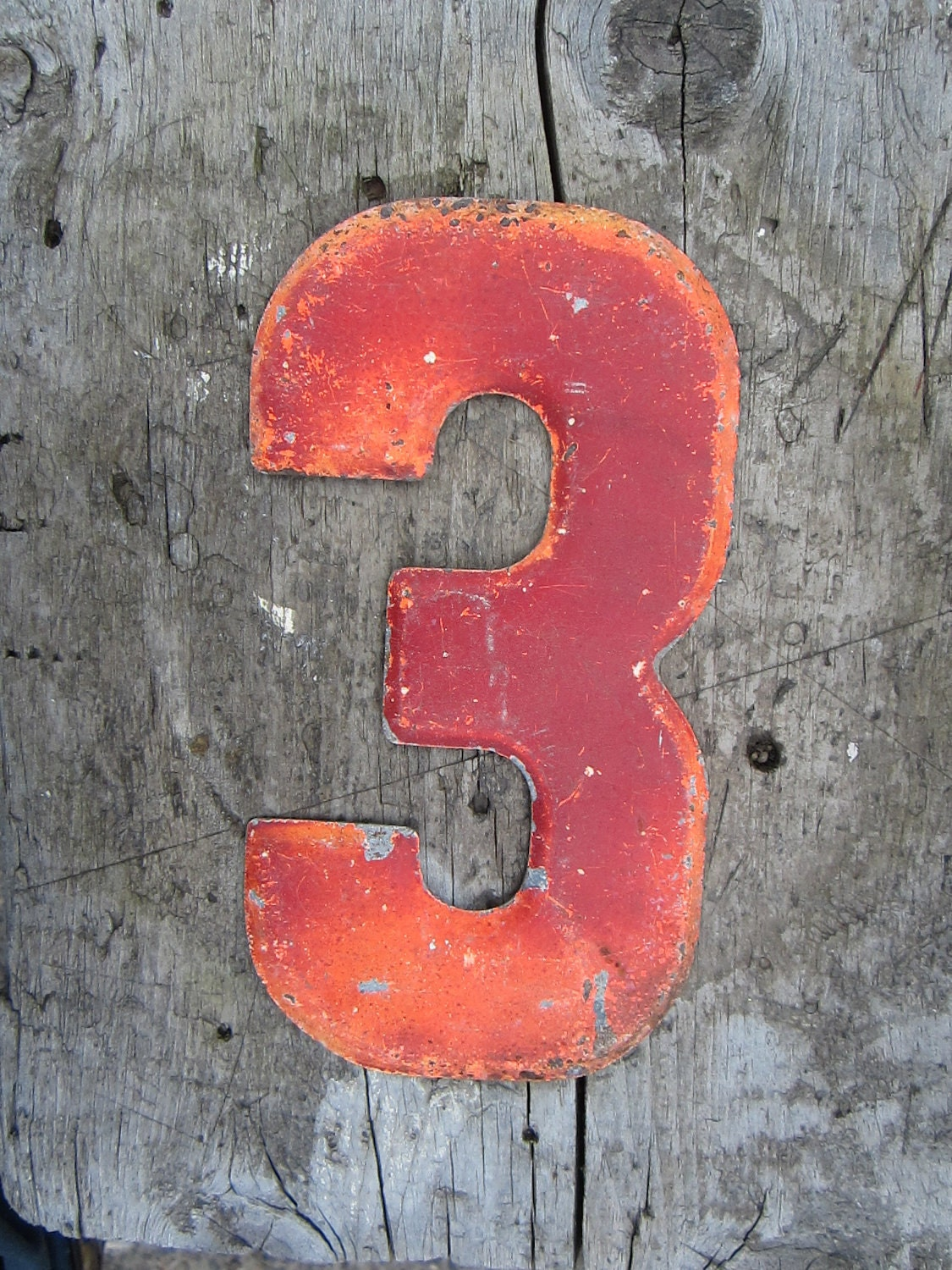 vintage metal chippy number 3 sign painted antique marquee