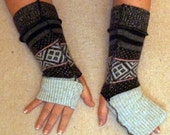 Shades of Grey Armwarmers with fold Down Cuff Elf Fea Pixie Hippy Tribal Bellydance Wool Gloves