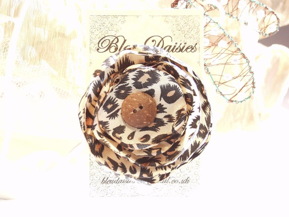 Leopard Print Fabric Flower Broch Hair Clip with a Vintage button satin flower corsage