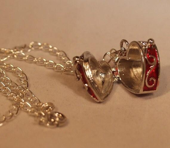 Red Heart Locket Necklace Treasure Chest Locket Necklace OOAK