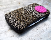 BEST PRICE on ETSY...Leopard Print with Pink Rosette Boutique Travel Baby Wipe Case