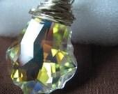 Swarovski Baroque Aurora Borealis Crystal Pendant Sterling silver necklace, Valentine Gift, Birthday Gift,