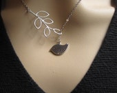 Cute little Silver Bird, Silver Leaf, Silver Necklace, Holiday Gift, Bridal Jewelry, Bridesmaids Gift