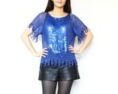 SALE - Vintage 50s Metallic Sapphire Blue 100% Silk // Sequin Beaded Short Sleeve Flapper Blouse // Butterfly Fringe