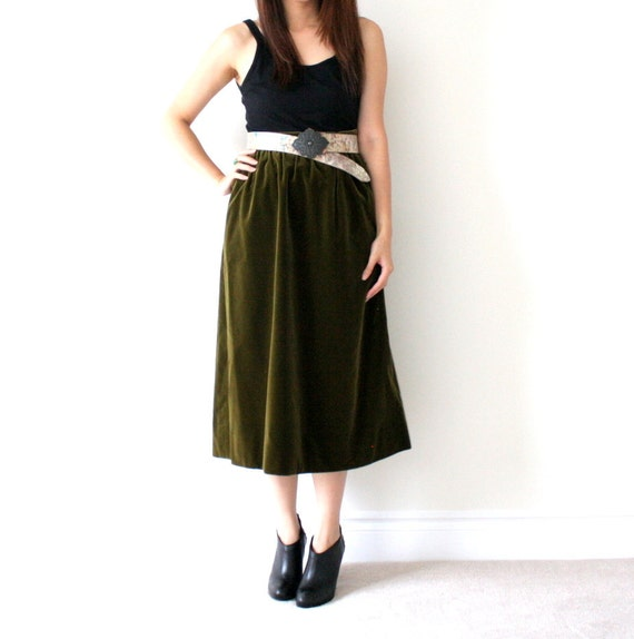 Vintage Ysl Yves Saint Laurant Olive Moss Green Velvet Maxi Skirt