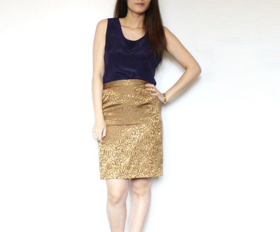 BACK TO SCHOOL Sale - Vintage Gold Metallic Sheen Baroque Print Pencil Secretary Skirt // Tulip Shape