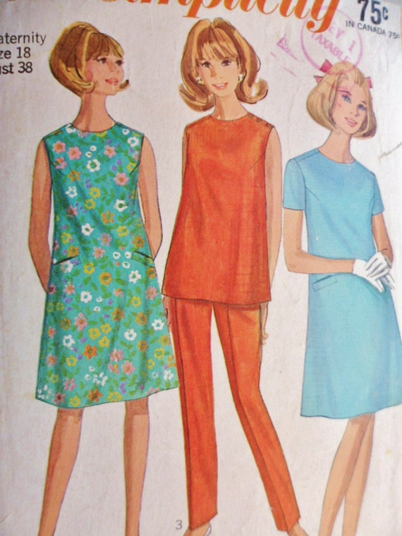 60s Sewing Pattern Maternity  Dress Overblouse & Pants Simplicity 7149 Misses Size 18
