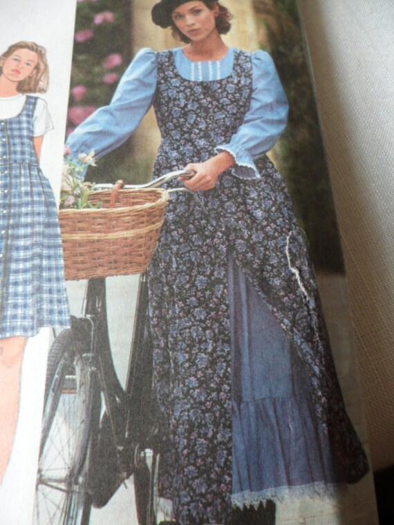 Sewing Pattern Misses Gunne Sax Style Dress & Jumper Simplicity 9880 Sizes 20, 22, 24 UNCUT