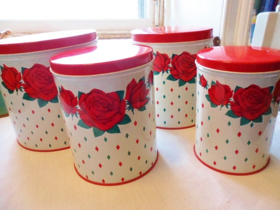 Vintage Metal Canister Tins Harlequin Rose Set of 4