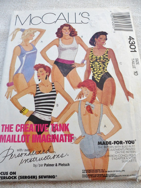 80s Sewing Pattern Swimsuits For Stretch Knits McCalls 4301 Misses Size 10 UNCUT