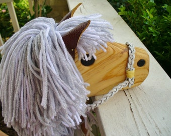 Gray and White Stick Horse Toy - Pony on a Stick - a finely made toy by Hill Country Woodcraft