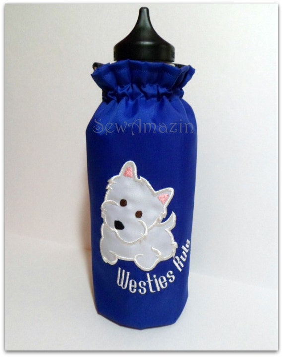 Westies Rule Blue Insulated Water Bottle Carrier