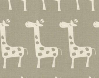Custom Valances, Drapery Panels, and Roman Shades - Taupe Giraffe Print Fabric
