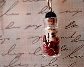 Glass Bottle Promise To Protect Rose Petals and Scroll