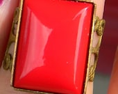 Art Nuevo - Deco Repurposed Red- Glass- Resin Cabochon  Adjustable Ring